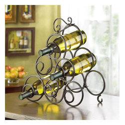 "Malibu Creations - Wrought Iron Open Range Wine Rack - Drinking wine has been elevated to an elegant occasion with our magnificent and high quality bottle holder! Keep six bottles of your favorite vintage on display in this beautiful wrought iron rack. Flourishes of scrolling metal will enhance the beauty of your bottled wine on your countertop, buffet or bar. Whether you're hosting a wine party or enjoying a relaxing evening with a few friends, keep our bottle holder handy and savor the refreshing taste of wine all night long!   Dimensions: 13"" x 7"" H: 15"""