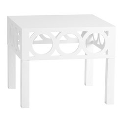 Cyan Design - Cyan Design Balbo Accent Table - Cyan Design Balbo Accent TableCircle up for the Balbo Accent Table from Cyan Design. This piece is a stunner in white-lacquered wood. Simple block legs lead up to striking top with a cut-out circles along the sides. Pair it with a colorful table lamp for some South Beach style, or put it in your transitional living room for a glamorous feel. Now that's a gorgeous way to round out your decor.Made in China
