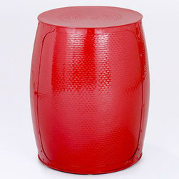 Pompeian Red Metal Accent Stool - Adding color is one of my favorite ways to bring a room to life. This bright metal stool brightens any space, while being functional.