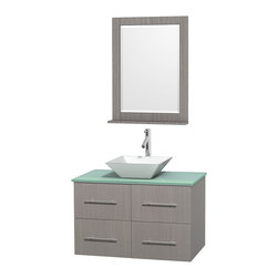 """Wyndham Collection - Centra Bathroom Vanity in Grey Oak,GN Glass Top,Pyra White Sink,24"""" Mir - Simplicity and elegance combine in the perfect lines of the Centra vanity by the Wyndham Collection. If cutting-edge contemporary design is your style then the Centra vanity is for you - modern, chic and built to last a lifetime. Available with green glass, pure white man-made stone, ivory marble or white carrera marble counters, with stunning vessel or undermount sink(s) and matching mirror(s). Featuring soft close door hinges, drawer glides, and meticulously finished with brushed chrome hardware. The attention to detail on this beautiful vanity is second to none."""