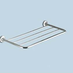 Gedy - Polished Chrome 23 Inch Towel Shelf - Modern style wall mounted bath towel shelf. Shower wall towel rack made out of brass with a polished chrome finish. Bathroom shelf easily mounts with screws. Made in Italy by Gedy. Wall mounted bath towel shelf. Modern and stylish. Made out of brass. Polished chrome finish. Wall shelf easily mounts with screws. From the Gedy Ascot Collection.