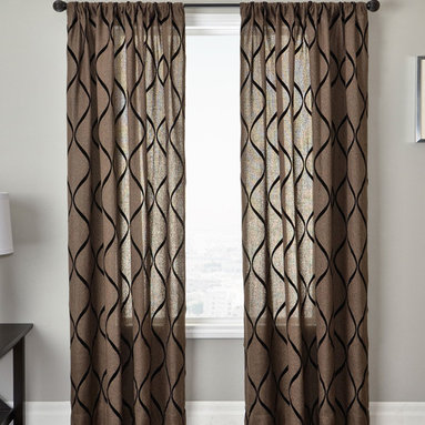 Blindsgalore Signature Drapery Panel: Natura - A contemporary linen like fabric featuring a flocked vertical wave pattern make up the Natura drapery panels from Blindsgalore.  These light filtering panels are suitable for a variety of decor styles.  Available in an array of sophisticated neutrals, the reverse side of the panel is the same as base fabric. Enjoy premium workmanship and luxurious fabrics with Blindsgalore Signature drapery panels.