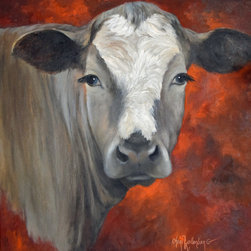 Oil Paintings by Cheri - Cow Art - Ms Hilda - Fine Art Original Oil Painting 24x24 Stretched Canvas - Ms Hilda is a gray cow. Her white face, long eye-lashes, and cute nose on her gray coat is complemented with a red and orange background. She would make a greate mantel art piece or kitchen wall décor. Her size and information is listed here: