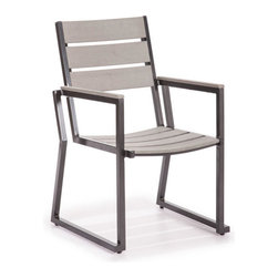 ZUO - Megapolis Dining Chair - Slats of faux wood topping an aluminum frame serve the Megapolis Dining set well. The slanted shape of the chair offsets the vertical lines of the table. Sold separately.