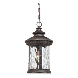 Quoizel - Quoizel Chimera Outdoor Hanging Light X-BI1191IHC - From the Chimera Collection, this Quoizel Lighting outdoor hanging light features a more traditional cylindrical shape with traditional beveling and other classic details. Complimented by a charming imperial bronze finish, this traditional outdoor light fixture features clear water glass that pulls this look together.