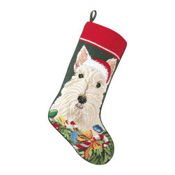 "Peking Handicrafts - White Scottie Needle Point Stocking - With its charming vintage design and intricate needle point quality, our adorable pet stockings are ready to fill with toys and treats for your best friends! This well made stocking features a plush velveteen color coordinated back and is meant to last for years! Indeed Decor will donate 20% of profits to animal rescue charities. Dry Clean Only. 11"" x 18""."