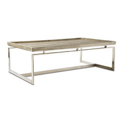 Brownstone Furniture Pierce Coffee Table - A table that blends the refinement of exceptional design with a tasteful combination of fine materials. Richly grained tray style oak tops rest above magnificent stainless steel bases.