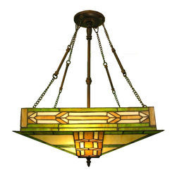 Warehouse of Tiffany - Mission Hanging Lamp - Requires two 60W bulb . Features bright Green glass. Perfect compliment to any mission furniture for its uniqueness and beauty. Minimal assembly required. 14 in. L x 10 in. W x 16 in. H (7 lbs.)Tiffany mission style ceiling fixture.Ideal for any home modern or old fashion it will add beauty into any room in your home. This magnificent mission ceiling fixture features bright Green glass. It is a perfect compliment to any mission furniture for its uniqueness and beauty.