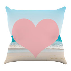 "Kess InHouse - Bree Madden ""Heart Beach"" Pink Sand Throw Pillow (16"" x 16"") - Rest among the art you love. Transform your hang out room into a hip gallery, that's also comfortable. With this pillow you can create an environment that reflects your unique style. It's amazing what a throw pillow can do to complete a room. (Kess InHouse is not responsible for pillow fighting that may occur as the result of creative stimulation)."