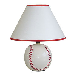 ORE International - Table Lamp With Ceramic Baseball Base - Requires 1 60W bulb (bulb not included). UL listed. Baseball ball shape . Red trim on top and bottom of the shades. White linen shade . 10 in. L x 10 in. W x 12 in. H (3 lbs.)Light up your room with this baseball-inspired lamp. Classic style embellishes desk or bedside table for reading. Baseball fans can get their game on no matter the season with this sporty ceramic table lamp, perfect on a nightstand or as part of a sports themed rec room decor.