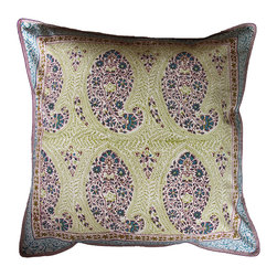 Anokhi - Large Hand Block Printed Pillows Covers - The cushion covers are hand block printed on a heavy weight cotton. Each cushion cover has a matching border on the front and a complementary print at the back. They have a zip closure. Made of 100% cotton • Hand Block printed • Naturally occurring dye variations are found on all hand printed textiles, making each piece unique.