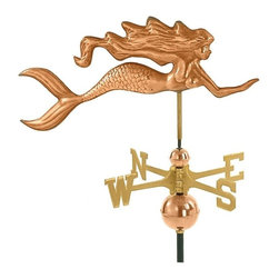 Good Directions, Inc. - Good Directions Mermaid Weathervane - Polished Copper - Since earliest times, mermaids have captured the imagination of seafarers. Based on an 1849 design, this beautiful mermaid is ready to grace the rooftop of your house, barn, garage, or cupola. Our Good Directions artisans use Old World techniques to handcraft this fully functional, standard-size weathervane that's unsurpassed in style, quality and durability. A great gift for folk art enthusiasts!