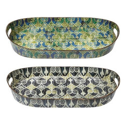 Home Decorators Collection - Sheraton Ikat Trays - Set of 2 - Pull your table decor together with our set of two Sheraton Ikat Trays. These lovely tin pieces feature delicate ikat-style patterns with a weathered finish. Crafted of tin with painted patterns in green/blue and cobalt/cream. Side handle cutouts. Not food safe.