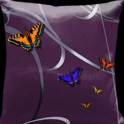 Lama Kasso - Precious Metals Plum with Butterflies and Magenta Accents 18 x 18 Satin Pillow - -Satin Lama Kasso - 25A