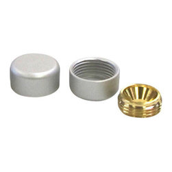 Nova Display, Inc. - 5/8 x 5/16 Decorative Screw Cover Caps, Brass, Satin Chrome Finish - Brass Flush Caps - Used for flush mounting of display panels, signage, or other finishing substrates. A special design allows these screw-in caps to give your application a flush mounted clean look. The screw caps are manufactured from the same high-grade brass alloy, then chrome plated in satin silver for a beautiful and long lasting appearance. Brass screw caps are available in 16mm (5/8), 19mm (3/4), and 25mm (1) diameters.