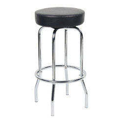 """Boss Chairs - Boss Chairs Boss 29 Inch Chrome/Black Stool - 29"""" Chrome frame with footring. Molded foam seat cushion. Beautifully upholstered with ultra soft and durable Caressoft upholstery."""