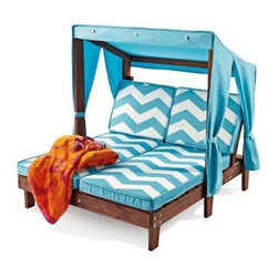 KidKraft Outdoor Kids' Double Chaise Lounge Chair with Canopy Online - This is surprisingly affordable at $235 — I know that's still a lot of money, but I would have thought it would cost much, much more. It's one of my favorite pieces of kids' outdoor furniture!