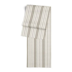 Gray & Ivory Handwoven Stripe Custom Table Runner - Get ready to dine in style with your new Simple Table Runner. With clean rolled edges and hundreds of fabrics to choose from, it's the perfect centerpiece to the well set table. We love it in this handwoven cotton feedsack stripe in gray that will take your rustic space from shabby to chic.