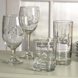 Fleur-de-lis Glassware - So beautifully elegant, the fleur-de-lis and beading design of this glassware will delight each time it is used.  It is solid and heavy making it perfect for everyday use.