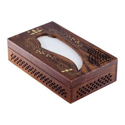 SouvNear - SouvNear Wooden Tissue Box Cover Holder With Decorative Brass Inlay Art-Work - * Handmade in solid rosewood - good for a lifetime. Has a hinged top cover and a wood base; essentially a box - not just a cover.