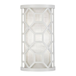 Fine Art Lamps - Black + White Story Sconce, 816750-5GU - Enjoy the mod vibe of this linen and lacquer sconce after you've chosen from a black or white casing. The finished look feels at once modern and retro and is sure to cast a flattering light from any room in the house.