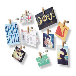 9-Pc. Clip Art Photo Display - This unique photo display hooks onto your favorite pictures, images, and more. Its nine individual clothespins stick out in three different lengths, offering you limitless display opportunities anywhere in your office or home.