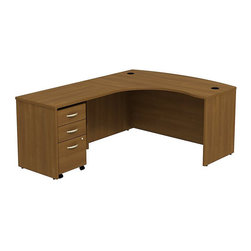 """BBF - BBF Series C 60W x 43D LH L-Desk with 3Dwr Mobile Pedestal - BBF - Computer Desks - SRC007WOLSU - Clean and classic the BBF Series C L-Desk creates a professional workspace anywhere. The ample space of the 60""""W x 43""""D L-Bow Desk Shell and 36""""W Return Bridge provide individual work space while the bow front offers seating space for visitors or collaboration work. Comprised of a thermally fused laminate the oversize work surface boasts a durable finish that resists scratches and stains to maintain its good looks. An integrated wire management system provides desktop grommets to assist in keeping the work surface clean and looking professional. A 3-Drawer Mobile Pedestal unit rounds out this office featuring two box drawers to keep office supplies close and a single file drawer which accommodates letter legal and A4 size files and a front face locking system to secure the file drawer and lower box drawer. Operating on full-extension ball bearing slides each drawer provides full content access and the convenient mobile unit fits neatly under the desktop to minimize the office footprint. With a finish to match any decor additional BBF Series C pieces allow for additional configurations as your needs evolve and grow. Solid construction meets ANSI/BIFMA test standards in place at time of manufacture; this product is American Made and is backed by BBF 10-Year Warranty."""