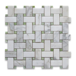 "Stone Center Corp - Calacatta Gold Marble Basketweave Mosaic Tile Green Dots 1x2 Honed - Calacatta Gold Marble 1x2"" rectangle pieces and Ming Green marble 3/8"" dots mounted on 12""x12"" sturdy mesh tile sheet"