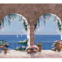 Murals Your Way - Mediterranean Arch - Panoramic Wall Art - Perfect for placing above a sofa, this panoramic mural of the Mediterranean provides a view of a welcoming terrace, scattered with terra cotta pots
