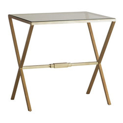Kathy Kuo Home - Valletta Hollywood Regency Antique Brass Cross Base Side Table - This classic, elegant design complements styles from Hollywood Regency to modern. Antique brass legs form X patterns on each side of the clear glass top. The transparent rectangular top and open base make it a side table that enhances any area in which it's placed.