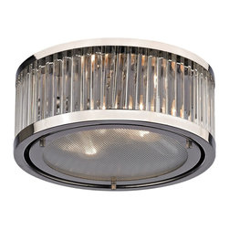 Elk Lighting - EL-46102/2 Linden 2-Light Flush Mount in Polished Nickel - The Linden Collection features a drum shape made from a textural wall of metal or crystal. A frosted glass diffuser (metal tube items) or textured clear glass (crystal items) is cleverly recessed into the drum for a smooth, seamless appearance. Various finishes, including polished nickel, brushed nickel, aged brass and oil rubbed bronze are adaptable into any color scheme.