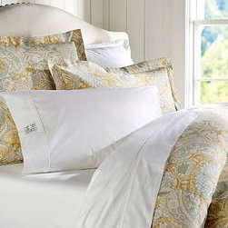 Celeste Damask Duvet Cover, Full/Queen, Gold - Our rendition of a delicate 17th-century silk Jacquard is updated with saturated color for lasting beauty. Made of a linen/cotton blend. Duvet cover and sham reverse to self. Duvet cover has interior ties and a button closure; sham has an envelope closure. Duvet cover, sham and insert sold separately. Machine wash. Imported.
