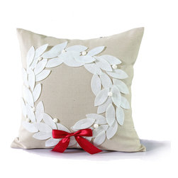 14 Karat Home - Poinsettia Wreath Pillow - This holiday designed pillow is perfect in any room in your home. Natural fabric background sets off pillow with felt like wreath applique and a glorious red ribbon to tie the look together.