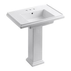 """KOHLER - KOHLER K-2845-4-0 Tresham 30"""" Pedestal Lavatory w/ 4"""" Centerset Faucet Drilling - KOHLER K-2845-4-0 Tresham 30"""" Pedestal Lavatory with 4"""" centerset faucet drilling in White"""