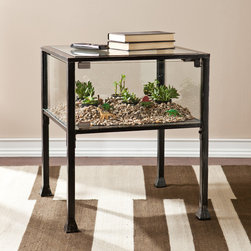 Upton Home - Upton Home Display/ Terrarium Side/  End Table - This terrarium style table is perfect for displaying keepsakes or creating an indoor garden of houseplants,succulents,and potted cacti. The black frame with silver distressing and glass panels complements many styles and decor