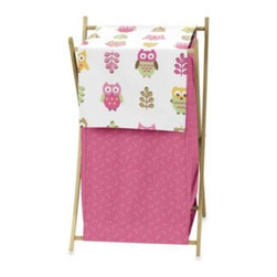 Sweet Jojo Designs - Sweet Jojo Designs Happy Owl Laundry Hamper in Pink - Store your laundry in the Happy Owl Hamper from Sweet Jojo Designs. Featuring a fabric cover, this space-saving hamper has a mesh liner that can be detached from the foldable wooden stand for easy portability.