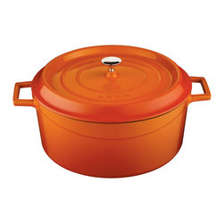 Lava Metal Dokum San. Tic. A.S. - Lava Signature Enameled Cast Iron Round Dutch Oven, Orange Spice, 7 Quart - Lava's Signature 7 Quart capacity round Dutch Oven's cooking area is 11-1/2 inches wide and 7 inches tall and made expressly for creating family sized amounts of delicious culinary goodness. This modern oven is perfect for soups and stews, roasting duck and large chickens, slow cooking beef and pork or baking delicious delicate casseroles.