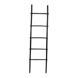 "Master Garden Products - 6' Bamboo Ladder Rack, Black Stained - Our bamboo ladder rack is uniquely designed to be used as a towel rack. It is made of natural solid bamboo and sand finished for indoor use. Beautiful black stain finish. These ladders are hand-made using all-natural bamboo and are not machine processed, irregularities are to be expected. Optional shelf is available for extra bathroom storage space. Top of ladder: 17"" wide, bottom of ladder: 21"" wide"