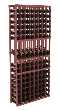 Wine Racks America - 8 Column Display Row Wine Cellar Kit in Pine, Cherry Stain + Satin Finish - Make 8 of your best vintages a focal point in your wine cellar. This display rack can store up to 11 wine cases. Features our industry exclusive solid display trays with high-reveal. Our wine cellar kits are designed to emphasize durability and elegance. You'll be satisfied. We guarantee it.