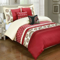 Royal Tradition - R-T Duvet Cover-Embroidered 100% Cotton- Chelsea Red - This Chelsea Red Duvet Cover Set is made of beautifully embroidered 100% cotton in rich colors.  The duvet has self piping (four sides) and has a hidden zipper closure by the foot.