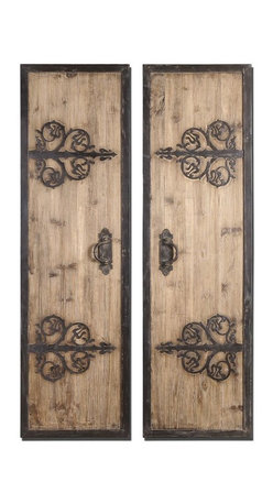 Uttermost - Stylish Oversized Wall Panels Made Mildly Rustic Wood Shaped Decor (Set of 2) - Stylish oversized decorative wall panels made of mildly stained rustic wood with shaped iron metal home accent decor