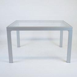 Italian Bontempi Glass Dining Table - Dimensions: L 49''  × W 36''  × H 29''