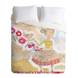 "DENY Designs - Cori Dantini The Secret To Happiness Queen Duvet Cover - Turn your bed into an art canvas with this custom printed duvet cover featuring Cori Dantini's contemporary print, ""The Secret to Happiness."" Whimsical and feminine, the oversize print gives your bedroom a unique focal point, while the palette of soft, spring colors keeps it relatively subtle."