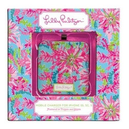 Lilly Pulitzer - Lilly Pulitzer Mobile Charger 8-Pin, Trippin' and Sippin' - When your iphone needs extra boost to get through for rest of the day no worries, just find our Lilly Pulitzer Mobile Charger. This square Lilly Pulitzer battery extender charges iPhone up to 80% & is also compatible with iPods & iPads. Charger re-charges through USB 2.0 connection. Charger cord included.