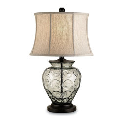 Currey and Company - Vetro Table Lamp - The Vetro table Lamp blends contemporary style with a coastal inspired feel. The glass is recycled and the accents are a beautiful bronze color. Includes a creamy oatmeal linen shade.