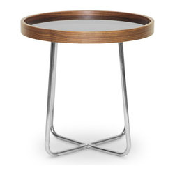 Wholesale Interiors - Lomax Round Walnut Modern End Table with Black Glass Top - This lovely little end table adds a pop of sleek style to any seating area. The Lomax Designer End Table is made in China with a wooden outer frame with walnut effect veneer and sits atop a stainless steel base with non-marking feet. The star of this show is the opaque black tempered glass tabletop inlay, adding a burst of subtle reflective shine to your interior. Easily clean the Lomax End Table by wiping its surfaces with a damp cloth. A matching coffee table is also available (sold separately). Simple assembly is required. 18 inches high x 17.25 inches wide x 17.25 inches long.