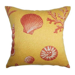 The Pillow Collection - Usha Yellow 18 x 18 Coastal Throw Pillow - - Pillows have hidden zippers for easy removal and cleaning  - Reversible pillow with same fabric on both sides  - Comes standard with a 5/95 feather blend pillow insert  - All four sides have a clean knife-edge finish  - Pillow insert is 19 x 19 to ensure a tight and generous fit  - Cover and insert made in the USA  - Spot clean and Dry cleaning recommended  - Fill Material: 5/95 down feather blend The Pillow Collection - P18-D-42103-CORALSEA-C100