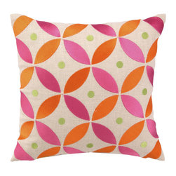 "Peking Handicraft - BohoChic Geo Flower Saffron Embroidered Pillow - The BohoChic throw pillow connects colorful shapes to create its geometric pattern. Embroidered in a chic saffron palette, its lively flower print offers a bright accent. 14""W x 14""H; 100% linen; Purple, lime green and sky blue; Includes 95/5 feather down insert; Hidden zipper closure; Dry clean only"