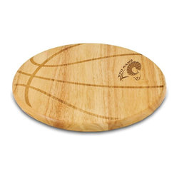 """Picnic Time - Virginia Commonwealth Free Throw Cutting Board - The Free Throw cutting board is a 12"""" round x 0.75"""" board made of eco-friendly rubberwood in a basketball design, with 104 square inches of cutting surface. It can be used as a cutting board or serving tray, or use both sides of the board, one for cutting and the other for serving. The backside of the board has is blank, with no design. Score with your guests when you show them your Free Throw! (Point of sale Cutting Board Display Rack (899-00-505) available. See item for details.); College Name: Virginia Commonwealth; Mascot: Rams; Decoration: Laser Engraving"""