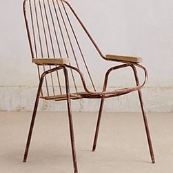 """Anthropologie - Pyrenean Lounge Chair - Powder-coated iron, wood32""""H, 17""""W, 20.5""""DSeat: 15""""HImported"""